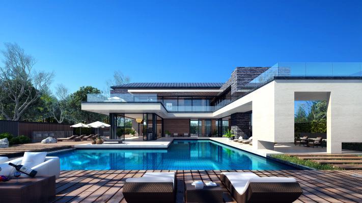 新中式别墅外观户外露天泳池
