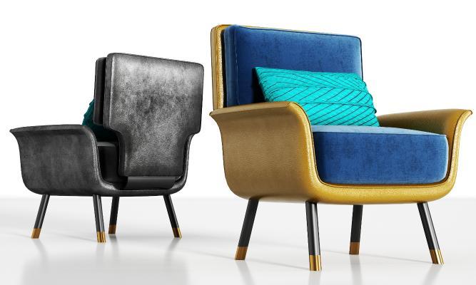 现代休闲皮革单人沙发