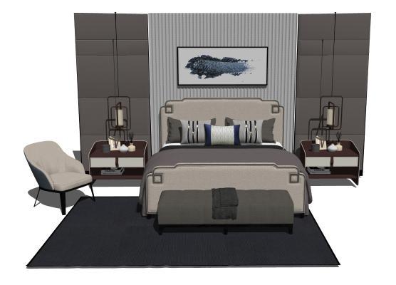 现代卧室双人床组合
