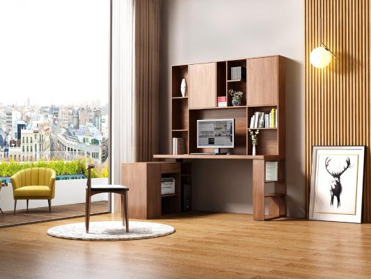 现代简约书桌书柜一体