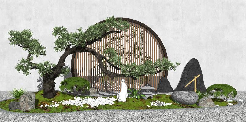 新中式景观小品 庭院景观 树