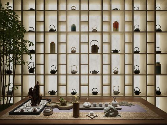 新中式茶室装饰柜茶具茶壶组合