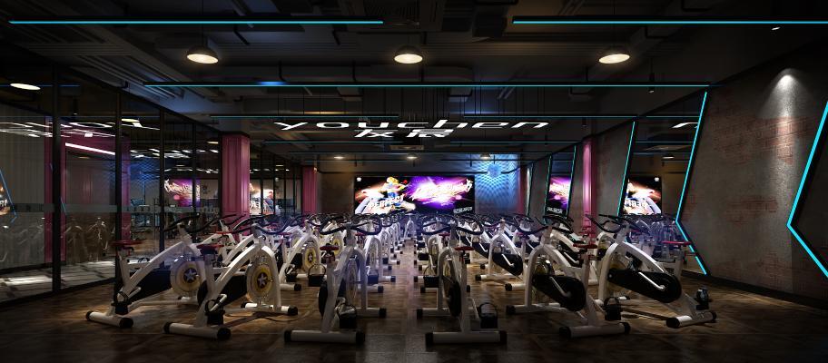 现代健身房 动感单车 跑步机