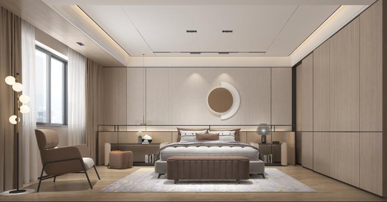 现代卧室主人房 吊灯 墙饰