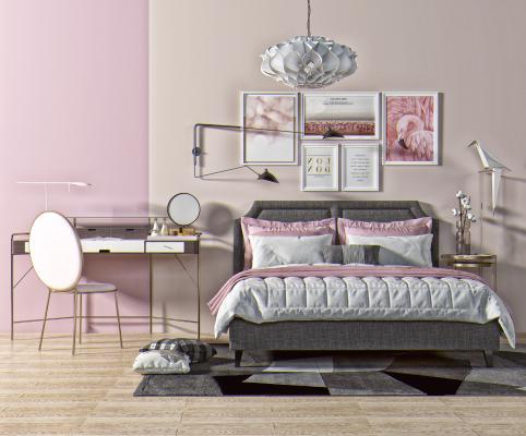 现代双人床 梳妆台 吊灯