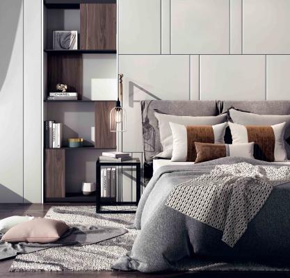 现代风格卧室 双人床