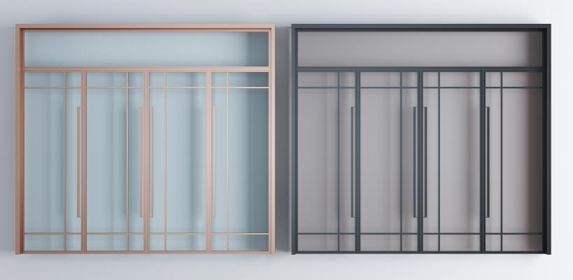 现代铝合金玻璃大门 玻璃门组合