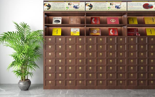 中式中药柜 盆栽