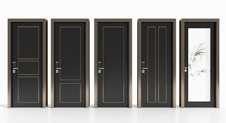 现代实木烤漆门 密码门 玻璃门