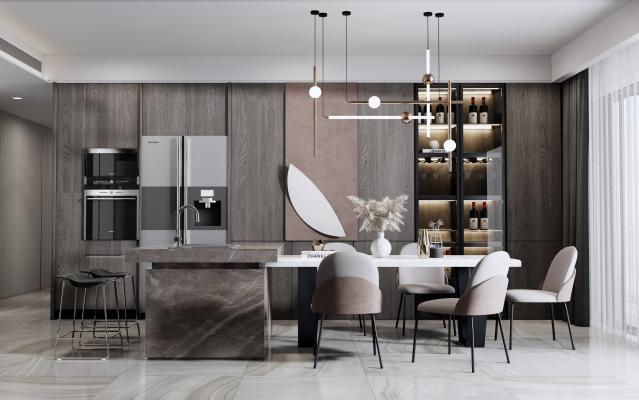 现代厨房 餐厅 橱柜 酒柜