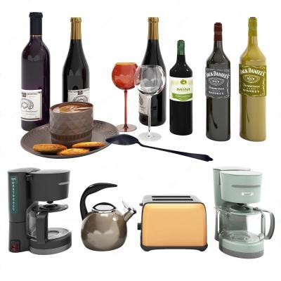 现代酒瓶 餐具