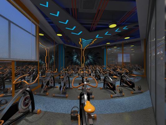 工业风健身单车房