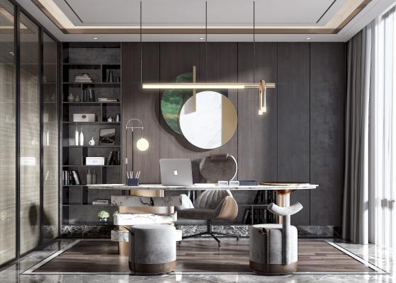 现代书房 办公椅 吊灯