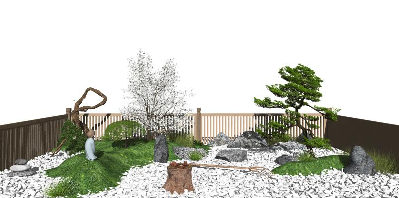 新中式庭院景观小品 石头 庭院小景