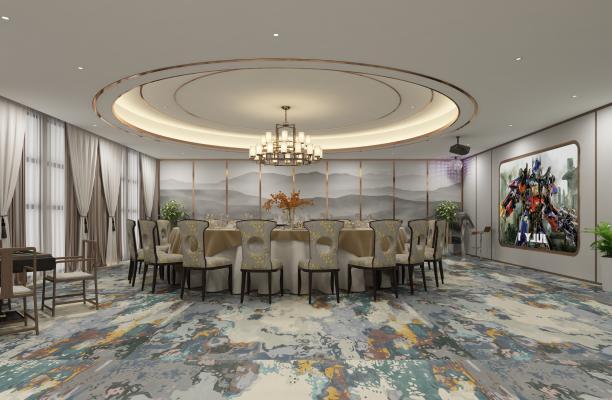 新中式宴客厅 沙发 茶几 吊灯