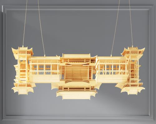 現代中式宮廷木制房子掛件,裝飾品,裝飾掛件,中式院子掛飾