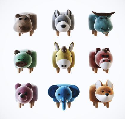 现代儿童动物矮凳组合