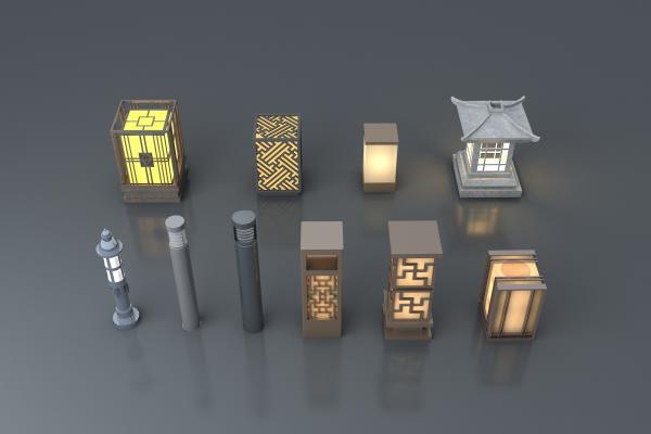 新中式草坪灯组合