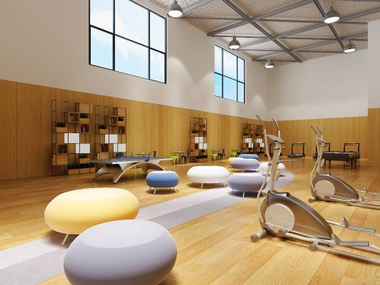 现代健身房 休息室 阅览室