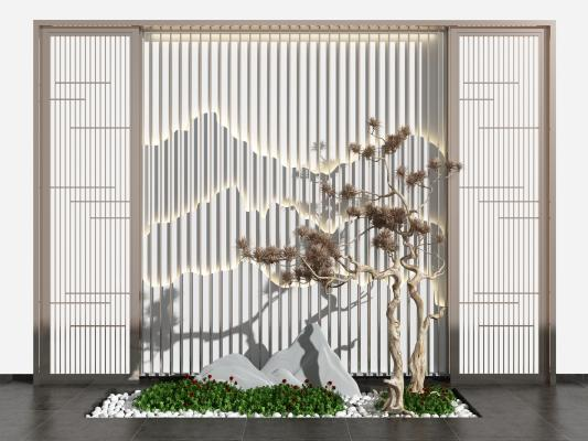新中式假山松树背景墙