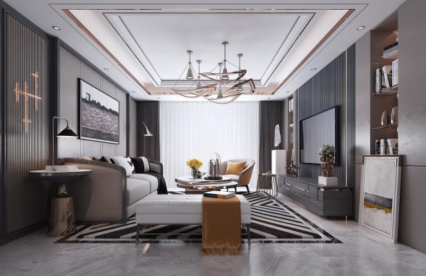 现代客厅 吊灯 电视柜