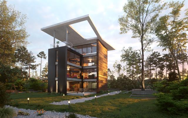 现代木制玻璃别墅