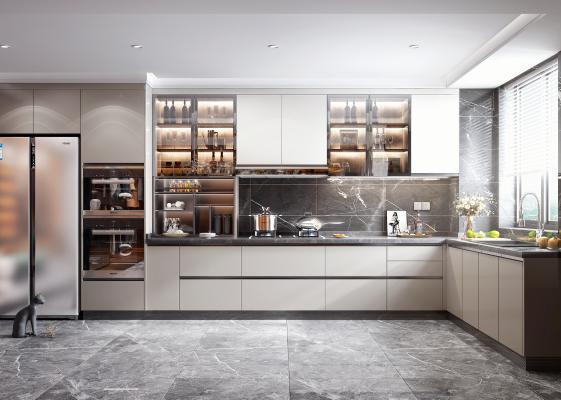 现代轻奢厨房 烟机灶具 冰箱