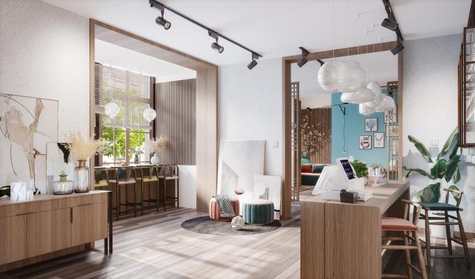 新中式风格餐厅 收银处 吧凳 桌椅