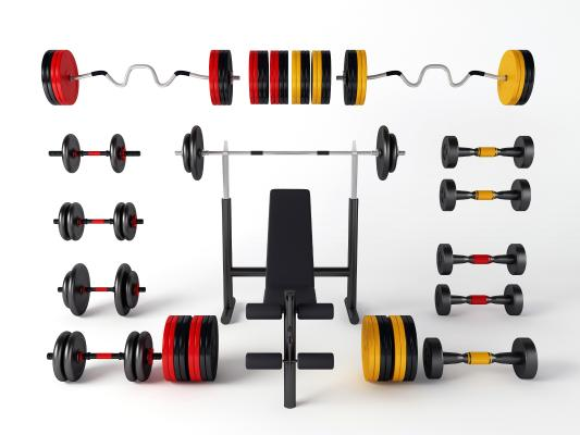现代健身器材 单杠 哑铃