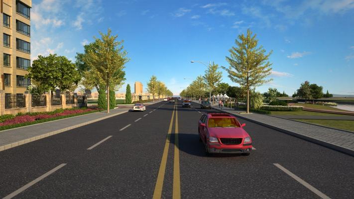 现代街道 汽车 油漆路