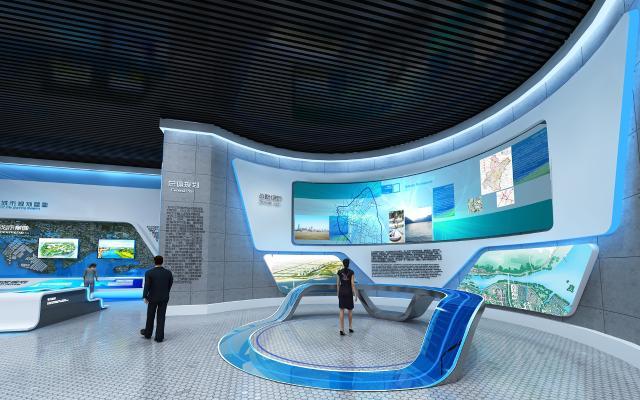 现代城市展厅 电子显示屏 展柜