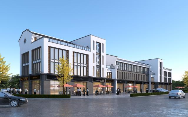 新中式风格商业街 徽派商业建筑 青瓦白墙商业街