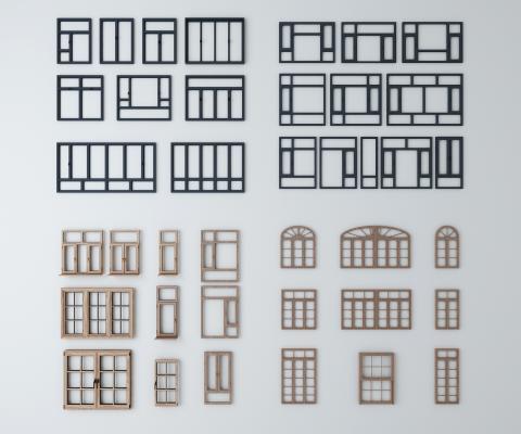 现代窗户组合 断桥铝 窗户