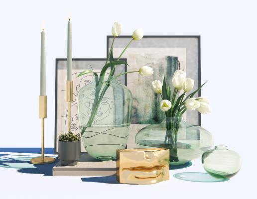现代挂画 绿植 装饰品 摆件组合