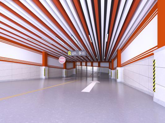 现代风格地下车库入口 停车场出入口 出口入口