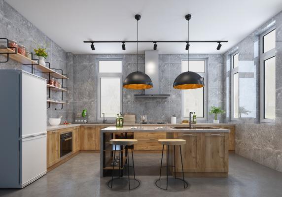 工业风厨房 橱柜 水泥
