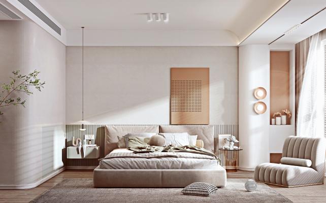 北欧风格卧室 双人床 床头柜