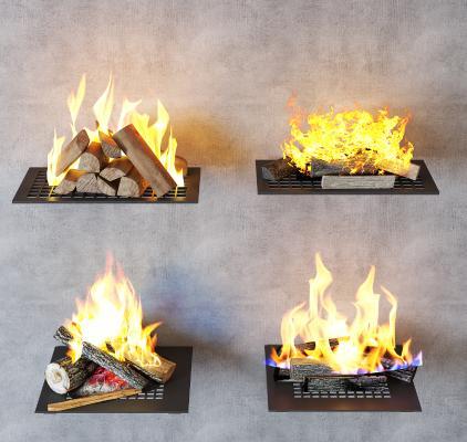 现代壁炉 火焰 火堆组合
