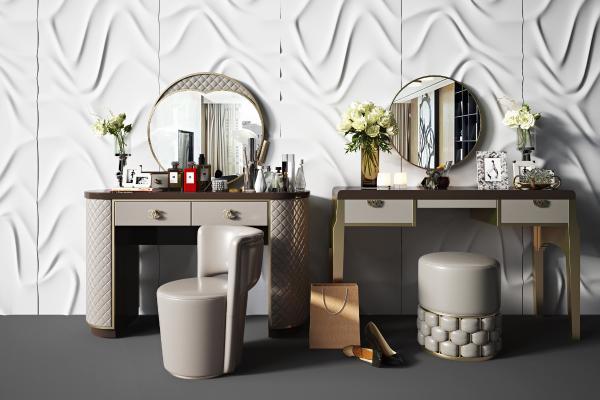 现代轻奢梳妆台 组合镜子 化妆品组合 墩子