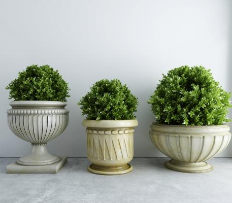 新中式植物 盆栽 景观小品