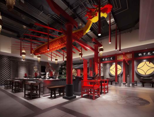新中式火鍋店 餐桌 龍舟 吊頂 裝飾品 新中式桌椅.