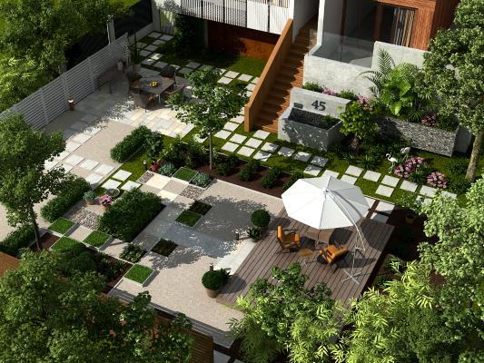 现代别墅景观小品 庭院花园