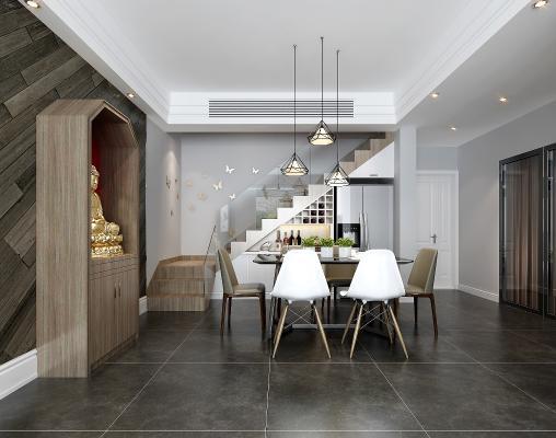 现代餐厅 餐桌 楼梯