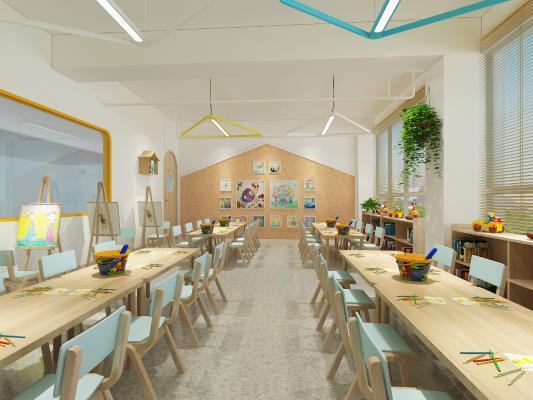 北欧幼儿园 美术室 吊灯 挂画