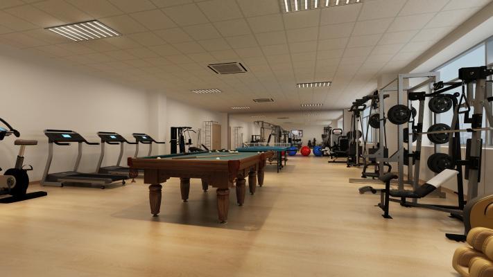 现代健身房 台球桌 健身器材