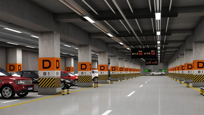 现代地下停车场 汽车 交通指示牌