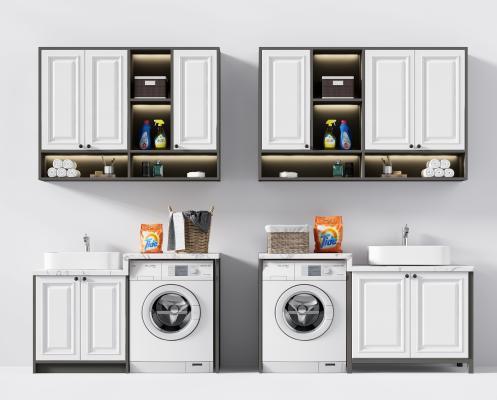 现代洗手台浴室柜 洗衣机 镜子