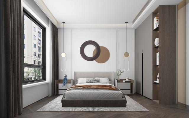 现代卧室 主人房 吊灯 墙饰