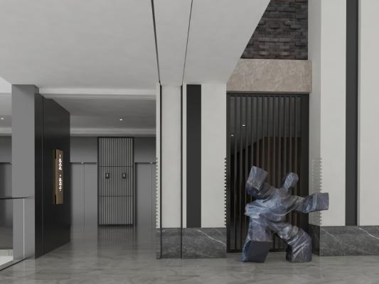 现代风格酒店过道 人物雕塑