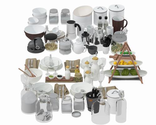 现代厨房餐具 摆设